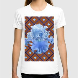 Chocolate Brown & Blue Iris Pattern Art T-shirt