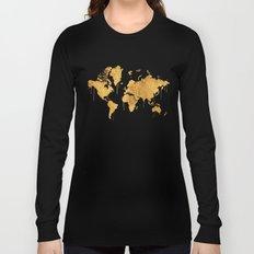 Gold World Map Long Sleeve T-shirt