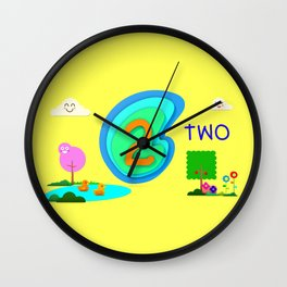 Number two - Kids Art Wall Clock