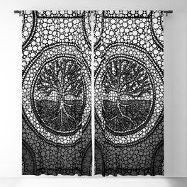 Tree of life - Yggdrasil- Dot Art Grayscale Blackout Curtain