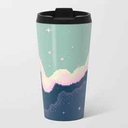Pixel Day and Night Galaxy Metal Travel Mug