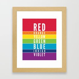 EDUCATIONAL RAINBOW COLORS bold modern classroom typography art Framed Art Print