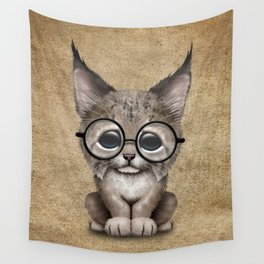 Cute Baby Lynx Cub Wearing Glasses Wall Tapestry