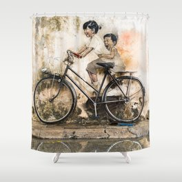Kids on Bicycle - Reflections of Penang Shower Curtain