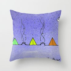 Three Tents Under a Purple Starry Sky Throw Pillow