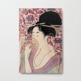 Japanese Woman Holding a Comb, Kushi by Kitagawa Utamaro Metal Print
