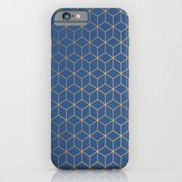 Classic Blue Gold Geometric Pattern iPhone Case