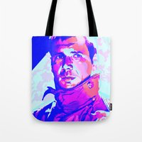 blade runner Tote Bags featuring RICK DECKARD // BLADE RUNNER by mergedvisible