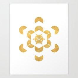 HEXAHEDRON CUBE sacred geometry Art Print