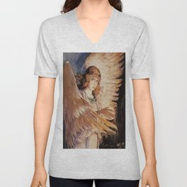 Angel With A Lamp by Victor Vasnetsov Unisex V-Neck