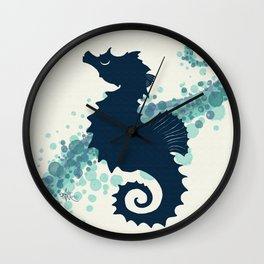 """Seahorse Silhouette"" ` digital illustration by Amber Marine, (Copyright 2015) Wall Clock"