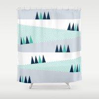 aurora Shower Curtains featuring Aurora by pegeo
