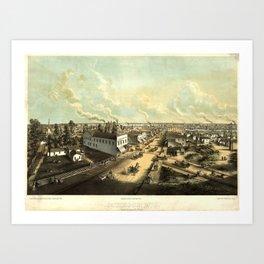 Vintage Pictorial Map of Oshkosh WI (1850) Art Print