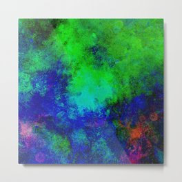 Awaken - Blue, green, abstract, textured painting Metal Print
