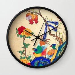 Minhwa: Birds and Peony  Wall Clock