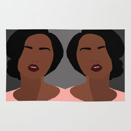 Mia - minimal, abstract portrait of an African American woman Rug