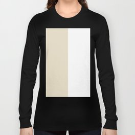 White and Pearl Brown Vertical Halves Long Sleeve T-shirt