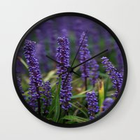 lavender Wall Clocks featuring Lavender by Tracy66