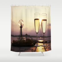 champagne Shower Curtains featuring Champagne Date by Brown Eyed Lady