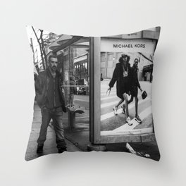Black and white downtown streetphotography Throw Pillow