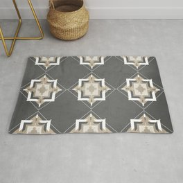 Charcoal Gray and Taupe Mosaic Pattern Rug