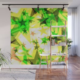 Bright glowing green golden stars on a light background in the projection. Wall Mural