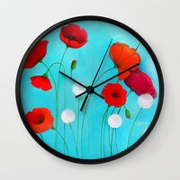 poppies Wall Clocks featuring Poppies by Sybile Art