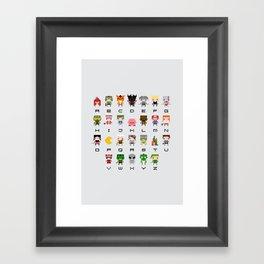 Video Games Pixel Alphabet Framed Art Print