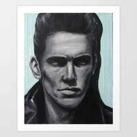 james franco Art Prints featuring a young james franco by Emma Berlin