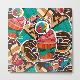 Pattern. Desserts, muffins, cupcakes, candies, cheesecake, chocolate, coffee. Metal Print