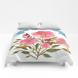 Will Not Be Tamed Floral Watercolor Comforters
