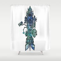 spaceship Shower Curtains featuring Spaceship  by Joseph Kennelty
