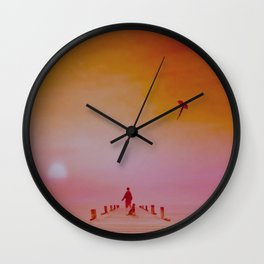 Boy with kite and dog Wall Clock
