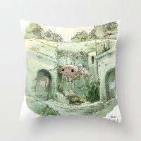 bouletcorp Throw Pillows featuring Axolotl by Bouletcorp