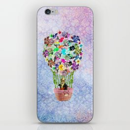 Teal Pink Vintage whimsical cat floral Air balloon iPhone Skin