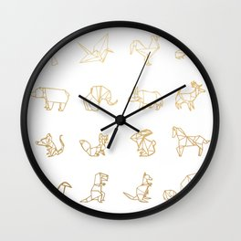 Origami Animals (gold) Wall Clock