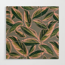Calathea Leaves Pattern- Pink Green Gray Wood Wall Art