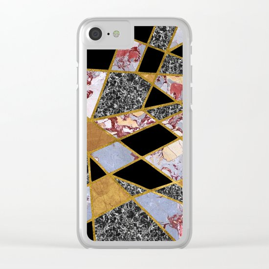 Abstract #486 Shards of Onyx, Marble & Gold Clear iPhone Case