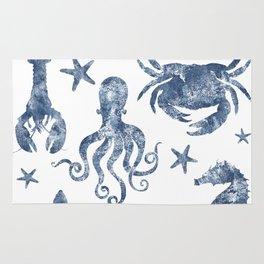 Delft Blue nautical Marine Life pattern, coastal beach Rug