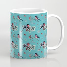 Winter Bullfinch Scene Gold Glitter Merry Christmas Coffee Mug