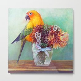 Sun conure and flowers Metal Print