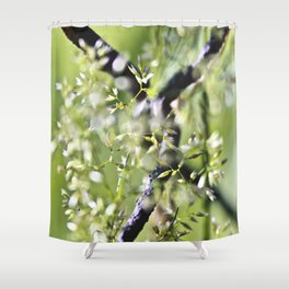 Blades Of Grass On Wire Fence Shower Curtain