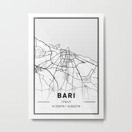 Bari Light City Map Metal Print