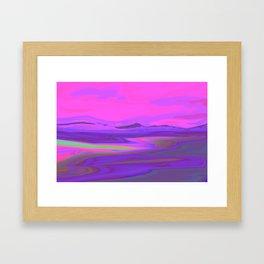 """Pixel Beach"" (Pink/Purple/Yellow) Digital Painting // Fine Art Print Framed Art Print"