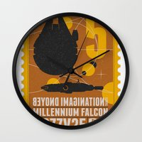 millenium falcon Wall Clocks featuring Beyond imagination: Millenium Falcon postage stamp  by Chungkong