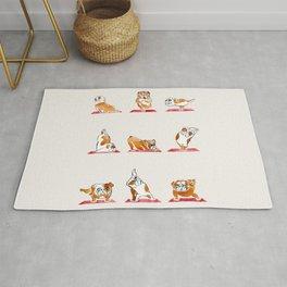English Bulldog Yoga Watercolor Rug