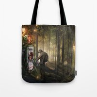 pocket fuel Tote Bags featuring Forest Fuel print by Feelfactory