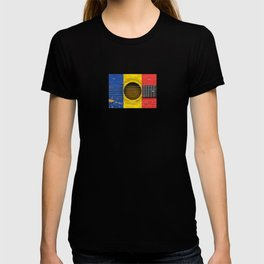 Old Vintage Acoustic Guitar with Romanian Flag T-shirt