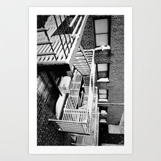 Fire Escape on Snowy Day Art Print