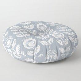 SCANDI GARDEN 01-6, white on silver grey Floor Pillow